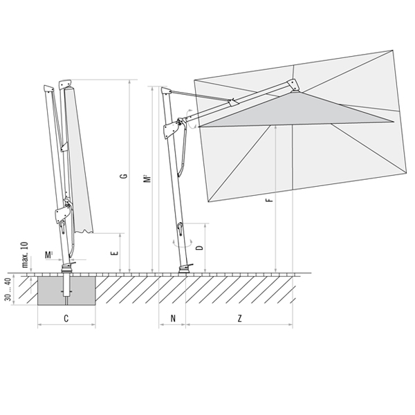 Sidepost Umbrella Rolltec 174 Retractable Awnings Toronto
