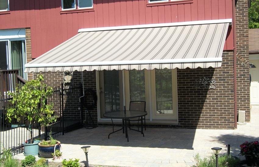 Brown striped awning
