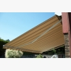Brown striped awning