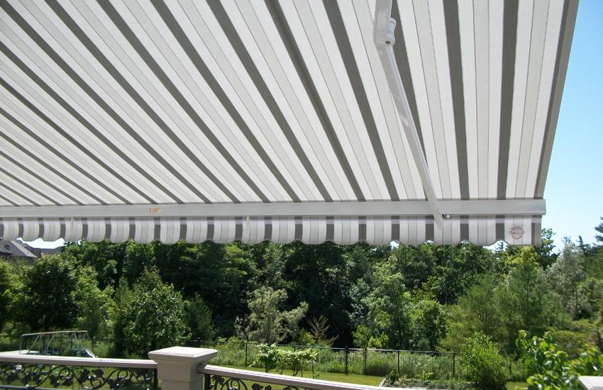 Grey striped awning