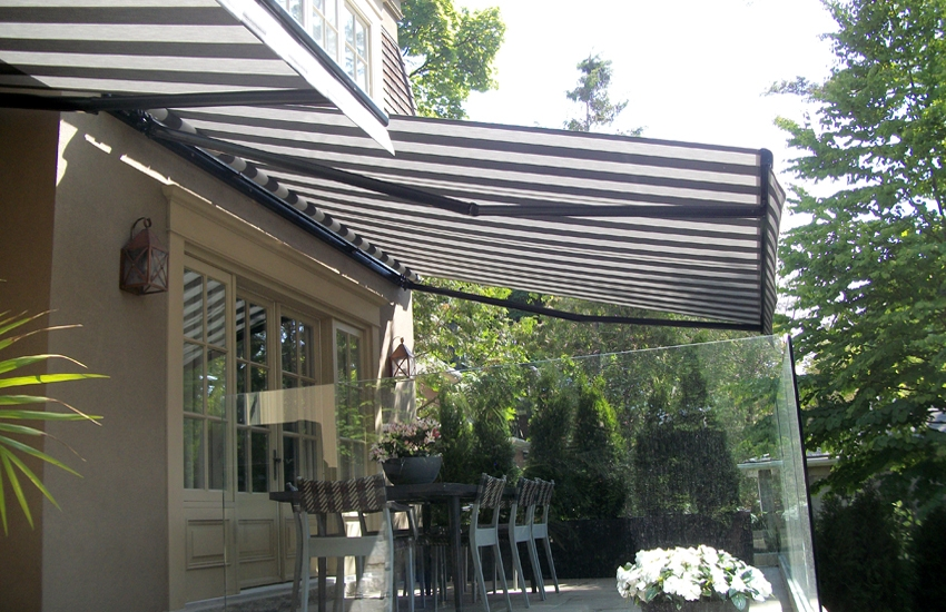 Awnings over stone porch