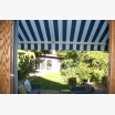 Blue and white striped awning