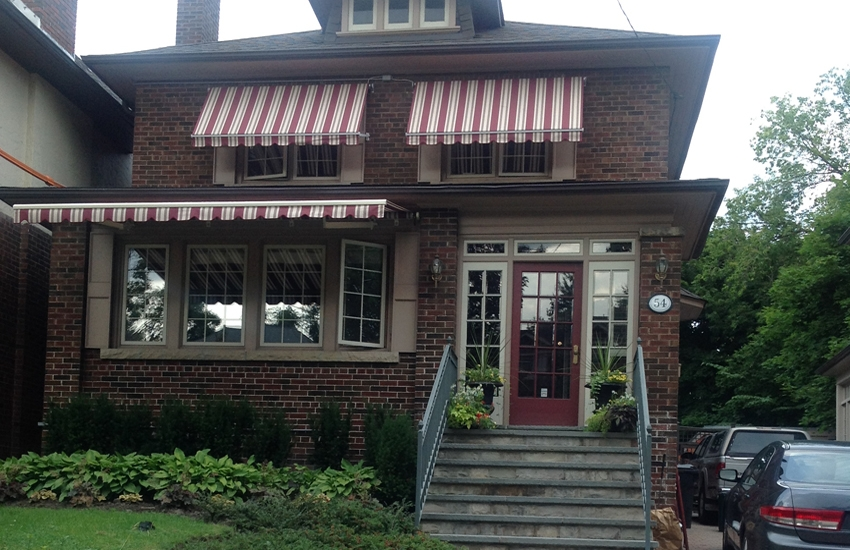 Burgundy and cream awnings