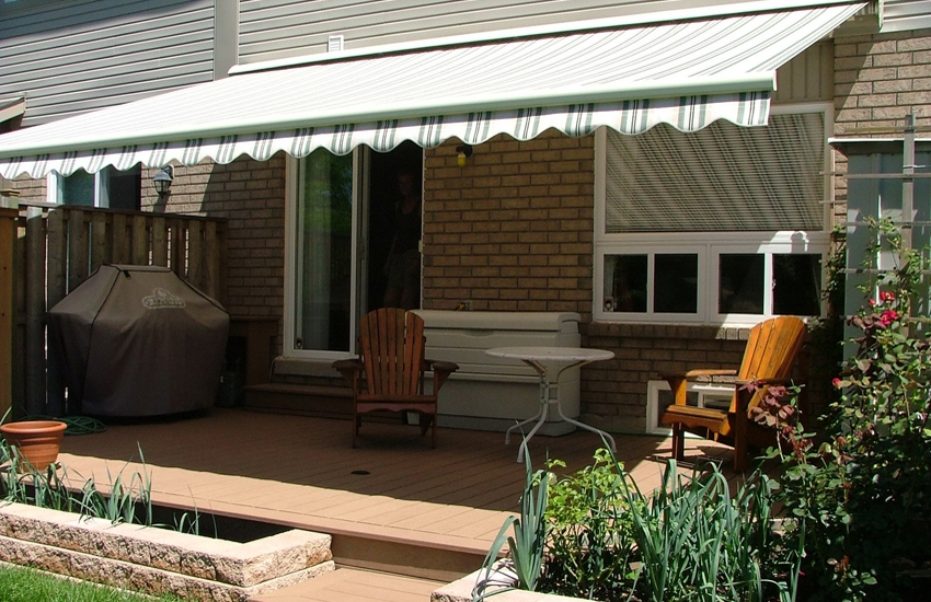 Awning over brown porch