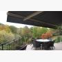 Awnings on the balcony overlooking ravine